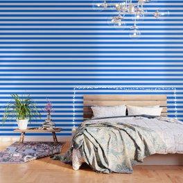 Brandeis blue - solid color - white stripes pattern Wallpaper