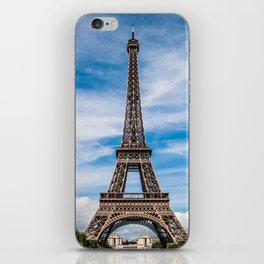 Eiffel Tower Before Cloud Streaked Sky iPhone Skin