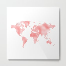Pink Shiny Metal Foil Rose Gold World Map Metal Print