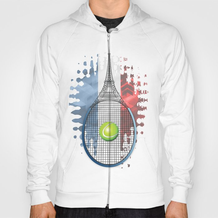Racquet Eiffel Tower with French flag colors in background Hoody