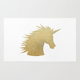Gold Glitter Unicorn Rug