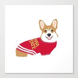 Corgi team spirit sweater collegiate fan Canvas Print
