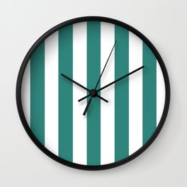 Celadon green - solid color - white vertical lines pattern Wall Clock