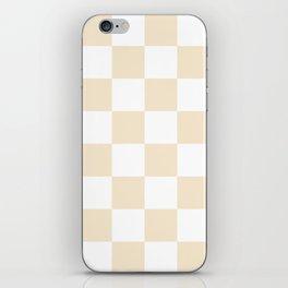Large Checkered - White and Champagne Orange iPhone Skin