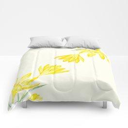yellow botanical crocus watercolor Comforters