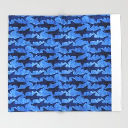 Sharks in the Blue, Blue Sea Throw Blanket