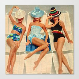 Retro Sunbathers Canvas Print