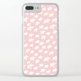 Stars on pink background Clear iPhone Case