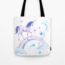 Watercolor Over the Rainbow Unicorn Tote Bag