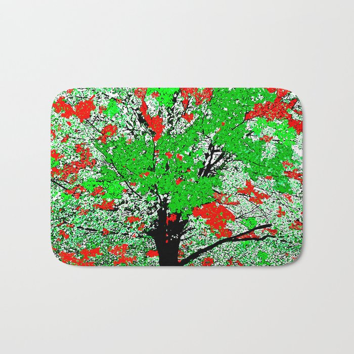 TREE RED AND GREEN LEAF Bath Mat
