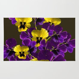 Purple And Yellow Flowers On A Dark Background #decor #buyart #society6 Rug