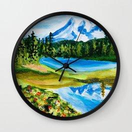 Mt. Rainier Reflections Lake Wall Clock