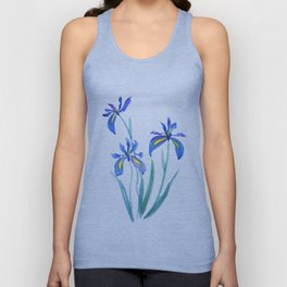 blue iris watercolor Unisex Tank Top