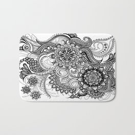 Freeform Black and White Ink Drawing Bath Mat