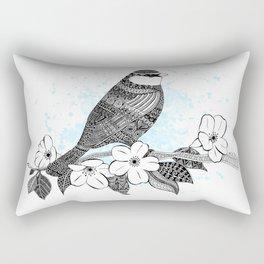 Bird and cherry blossoms Rectangular Pillow