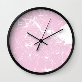 Amsterdam Pink on White Street Map Wall Clock