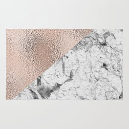 Dramatic white stone with rose gold foil Rug