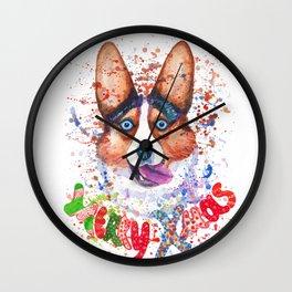 Merry Xmas corgi greetings Wall Clock