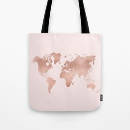 Rose Gold World Map Tote Bag