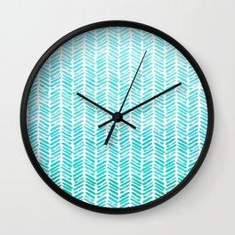 Handpainted Chevron pattern - small - light green and aqua teal Wall Clock