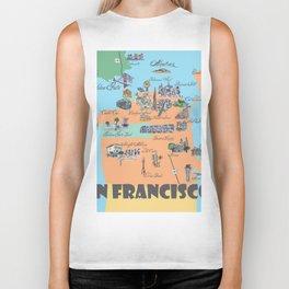 San Francisco Fine Art Print Retro Vintage Favorite Map with Touristic Highlights Active Biker Tank