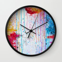HAPPY TEARS Bright Cheerful Abstract Acrylic Painting, Drip Splat Bold Pink Red Purple Spring Art Wall Clock