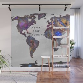 """""""Star map. Never stop exploring...II"""". World map. Wall Mural"""
