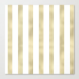 Simply luxury Gold small stripes on clear white - vertical pattern Canvas Print