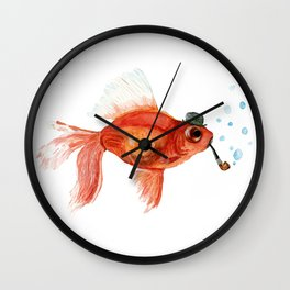 Goldfish with pipe and hat Wall Clock
