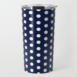 Indigo Navy Blue Polka Dot Travel Mug