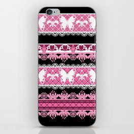 Black and pink striped pattern . iPhone Skin