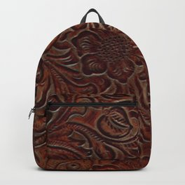 Burnished Rich Brown Tooled Leather Backpack