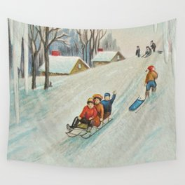 Happy vintage winter sledders Wall Tapestry