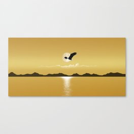 Perfect Gold Moon Eagle Canvas Print