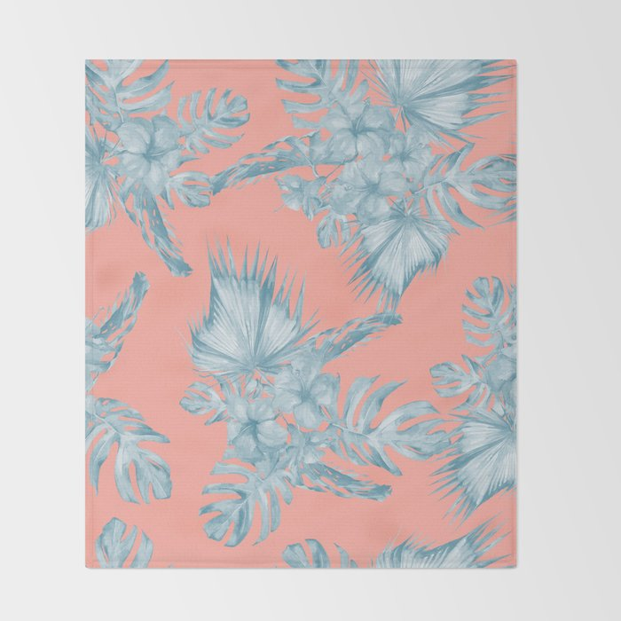 Dreaming Of Hawaii Pale Teal Blue On Coral Pink Throw Blanket By Amazing Pale Pink Throw Blanket