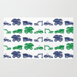 Blue and Green Construction Vehicles Rug