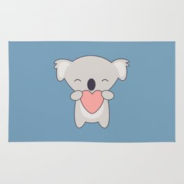 Kawaii Cute Koala With Heart Rug
