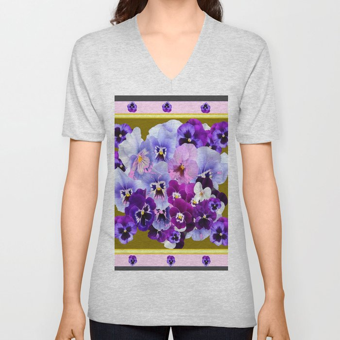 COLORFUL SPRING  PANSIES GARDEN COLLECTION Unisex V-Neck