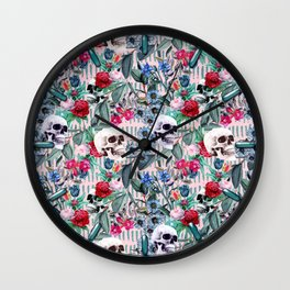 Flowers and Skulls (Pink) Wall Clock