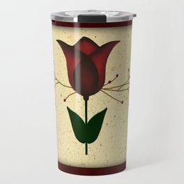 Primitive Tulip And Crows Travel Mug