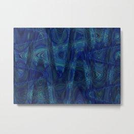 Abstract Sine Waves Blue Metal Print