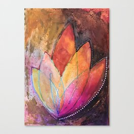 Lotus Dreaming in Colour and Dots Canvas Print