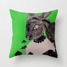 Pink Rabbit  Throw Pillow