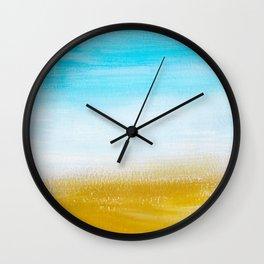 Aqua & Gold Abstract Wall Clock