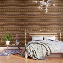 Mudcloth Style 2 in Brown and Orange Wallpaper