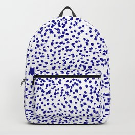 Vonnie - abstract minimal indigo blue dalmatian dots brushstrokes animal print monochromatic print Backpack