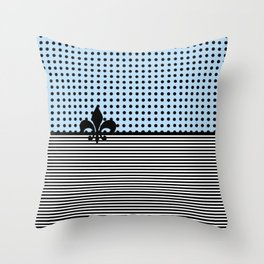 Pastel Cyan - Dots and Lines Throw Pillow