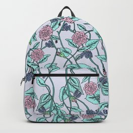 the pattern of flowers and leaves . artwork Backpack
