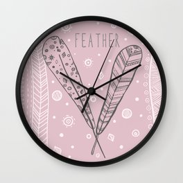 Feather ethnic graphic hand drawing illustration Wall Clock