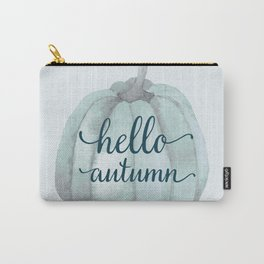 hello autumn blue pumpkin Carry-All Pouch